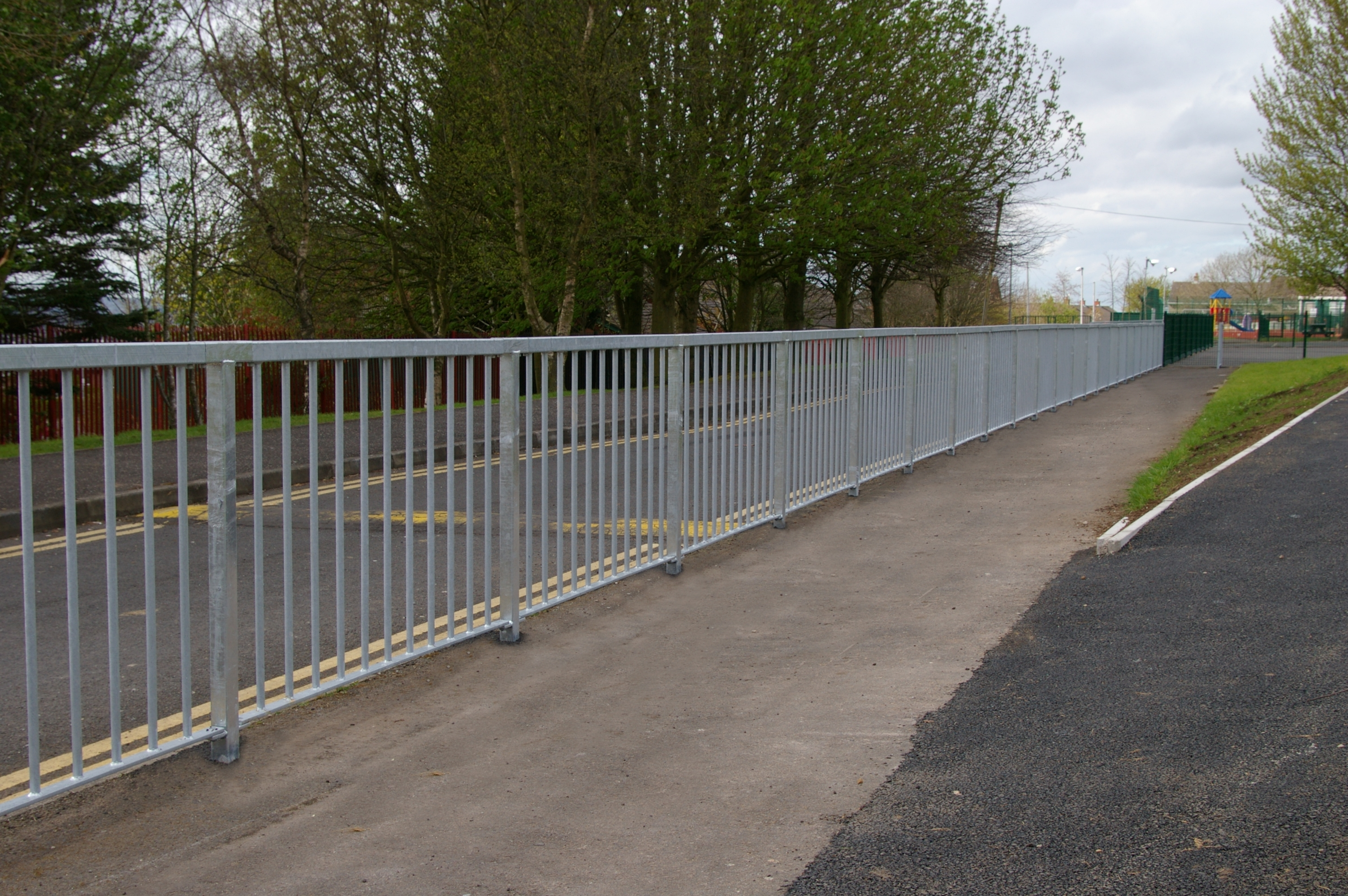 Nk on road pedestrian guard rail fencing uk